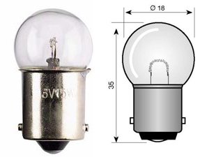 Fräscha Kugellampe klein ø 18mm - Sockel BA15S [12V 10W] - Quad ATV MX & SXS UY-67